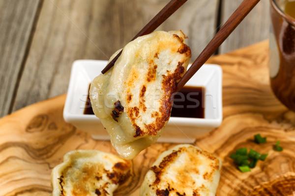 Handgemaakt chinese knoedel eetstokjes klaar eten Stockfoto © tab62