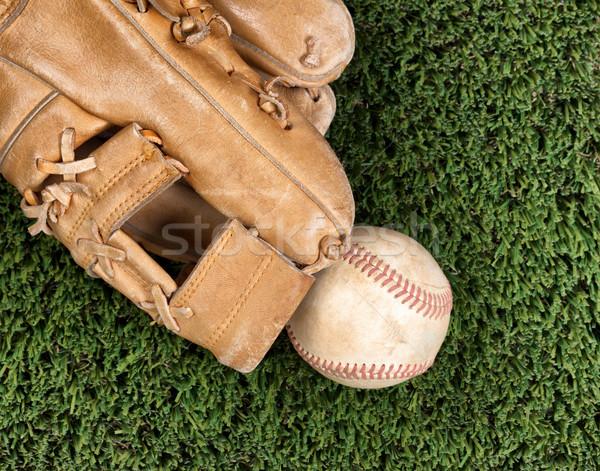 Stock fotó: Közelkép · kilátás · öreg · bőr · baseball · fű