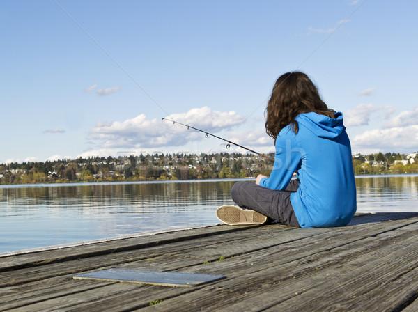 Girl fishing off Dock  Stock photo © tab62