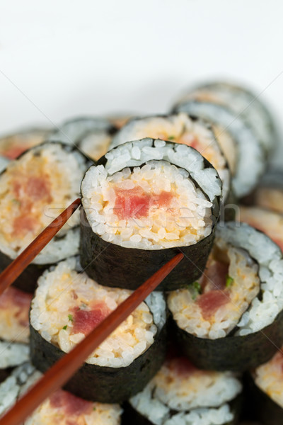 Gekruid tonijn rollen klaar verticaal Stockfoto © tab62