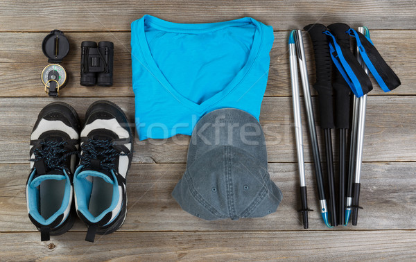 Blue color coordinated outdoor walking accessories on rustic woo Stock photo © tab62