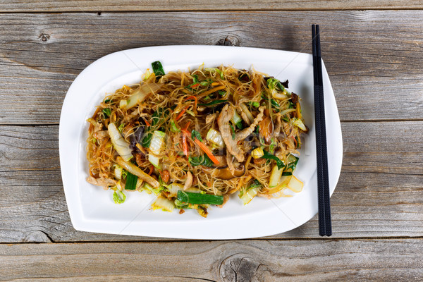 Chicken with rice noodles dish ready to eat Stock photo © tab62