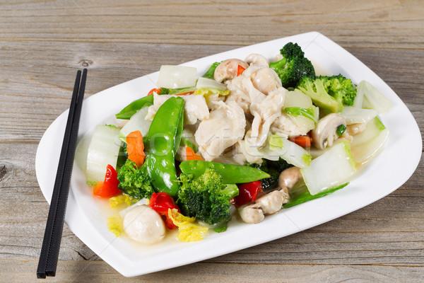 Keverés tyúk vegyes zöldségek kész eszik Stock fotó © tab62