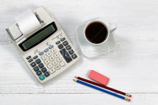Old fashion business calculator on white desktop Stock photo © tab62