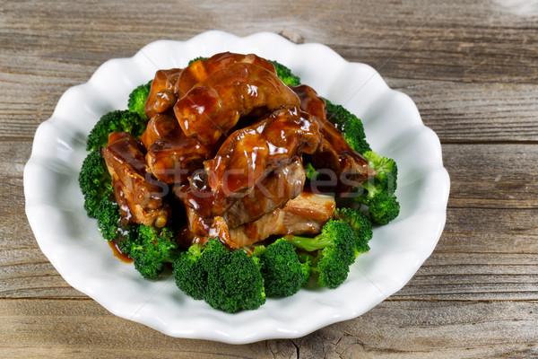 Super costelas legumes branco prato Foto stock © tab62