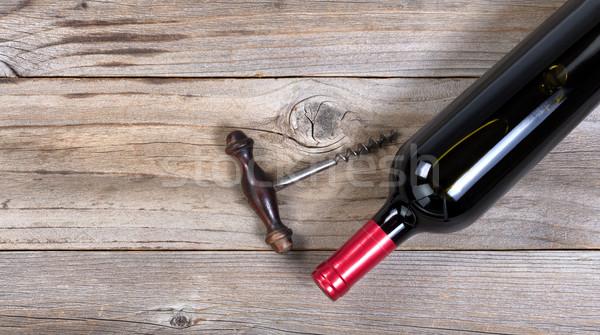 Bouteille vin rouge vintage tire-bouchon rustique vue Photo stock © tab62