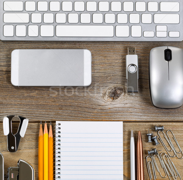 Workspace with simple office supplies on aged desktop  Stock photo © tab62