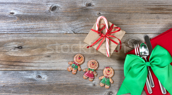 Xmas dinnerware setting for the festive holiday season on rustic Stock photo © tab62