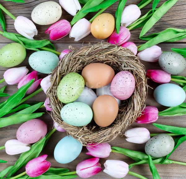 Easter background consisting of nest with eggs and tulips on wea Stock photo © tab62