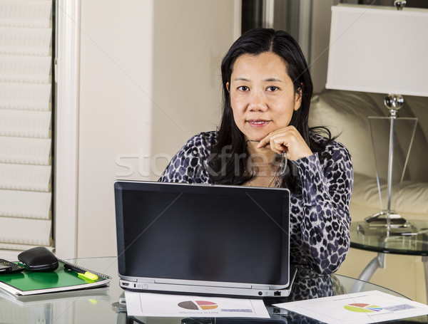 women relaxing while working at home office Stock photo © tab62