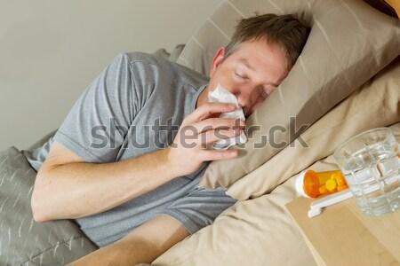 テスト 温度 計 ベッド 写真 成熟した女性 ストックフォト © tab62