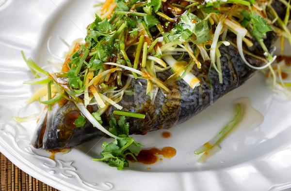 Gestoomd vis witte plaat klaar Stockfoto © tab62