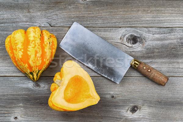Cortar abóbora grande faca rústico Foto stock © tab62