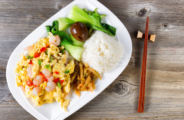 Chinese fried egg and shrimp dish in plate setting ready to eat  Stock photo © tab62