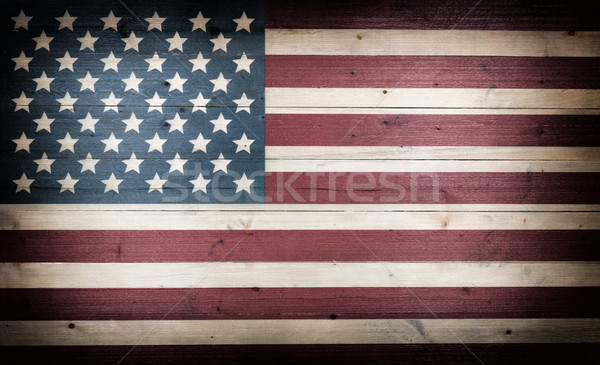 fading USA flag painted on faded wooden boards Stock photo © tab62