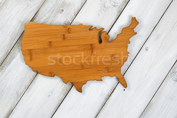 Wooden shape of USA on rustic white boards Stock photo © tab62