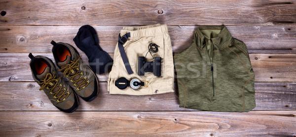 ハイキング ギア 服 素朴な 木製 先頭 ストックフォト © tab62