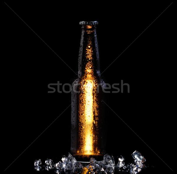 Ijs koud fles bier zwarte bierfles Stockfoto © tab62