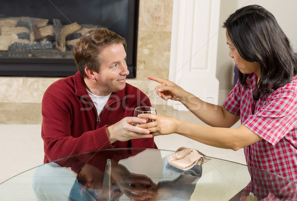 Mature Couple dealing with Acohol drinking Problems at home  Stock photo © tab62