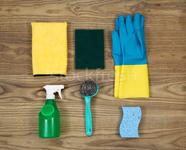 House Cleaning Materials on Age Wood  Stock photo © tab62