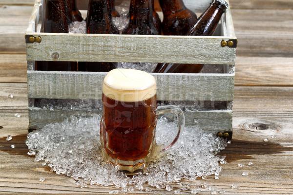 Zimno ciemne piwa szkła kubek Zdjęcia stock © tab62