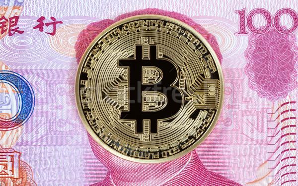 Bitcoin érme kínai papírpénz arany külföldi Stock fotó © tab62