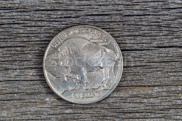 American Buffalo Nickel on Rustic Wood  Stock photo © tab62