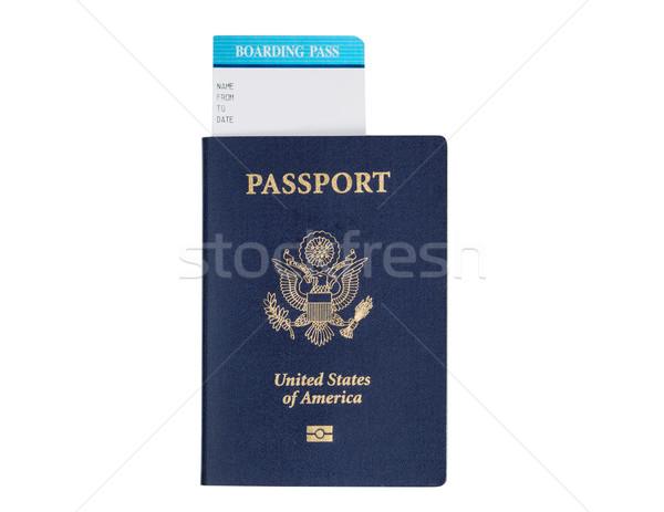 Passeport blanche États-Unis sceau embarquement Photo stock © tab62