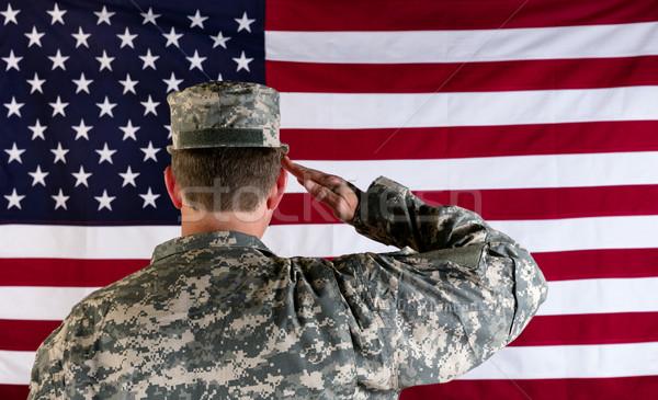 Veterán férfi zászló USA katona hát Stock fotó © tab62