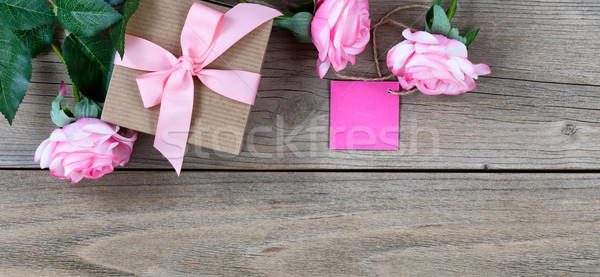 Lovely pink roses plus gift box with tag for Mothers Day holiday Stock photo © tab62