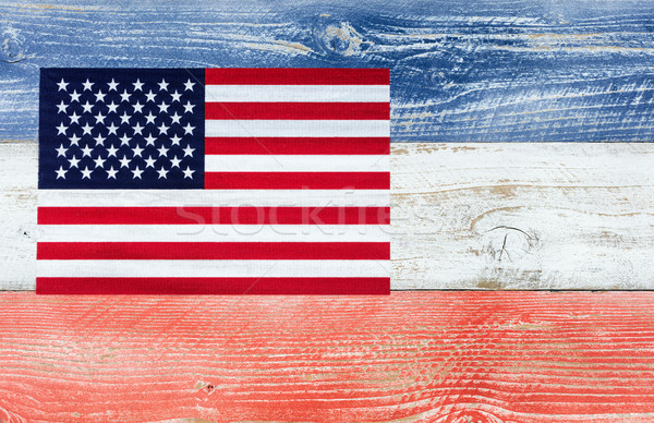 USA flag with national colors painted on fading wooden boards  Stock photo © tab62