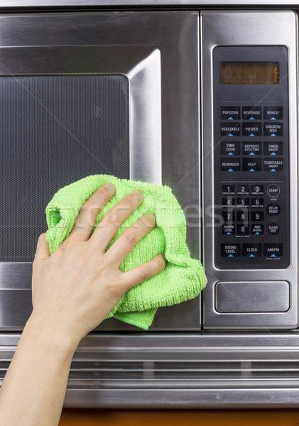 Para baixo cozinha dispositivo mão trapo limpeza Foto stock © tab62