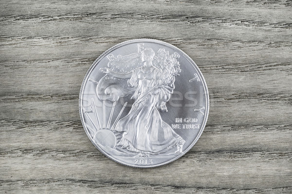 Pure Silver Dollar on Faded Wood  Stock photo © tab62