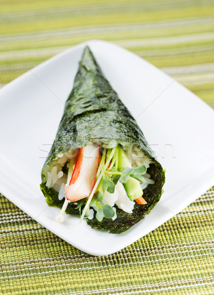 Individual Sushi Cone in Small White Plate  Stock photo © tab62