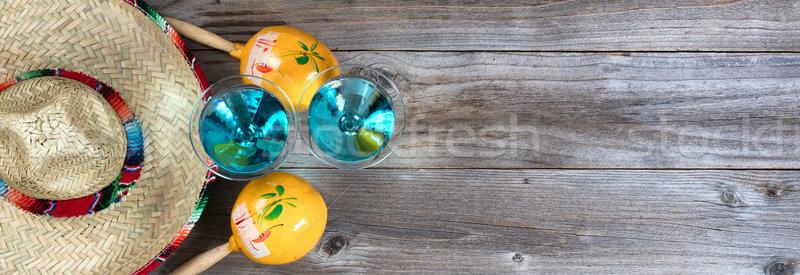 Traditional maracas and sombrero for Cinco de Mayo holiday party Stock photo © tab62