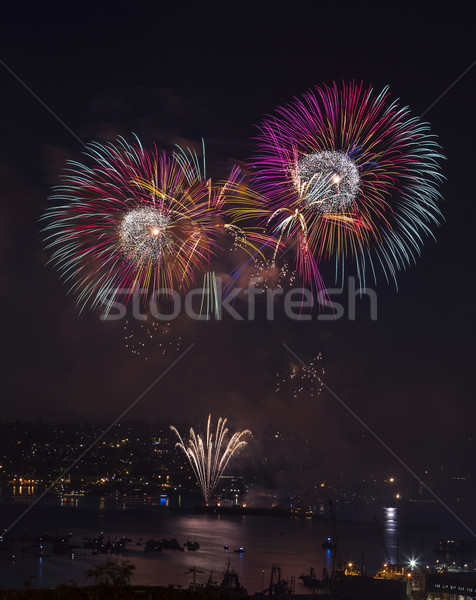 Feux d'artifice eau Seattle Washington lac Photo stock © tab62
