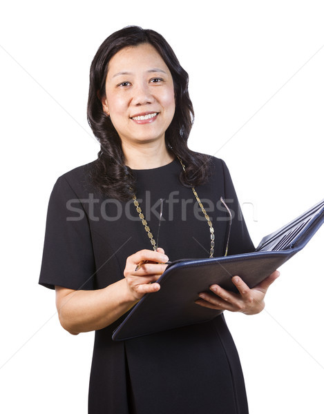 Mature Asian Woman in Business attire with note pad and glasses  Stock photo © tab62
