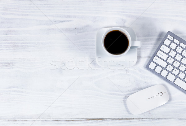 Clean white desktop with simple computer peripherals and coffee Stock photo © tab62