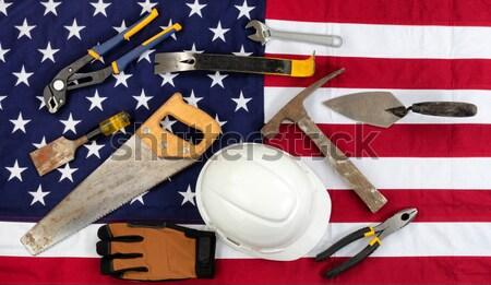 Hazafias munka nap amerikai zászló építkezés szerszámok Stock fotó © tab62