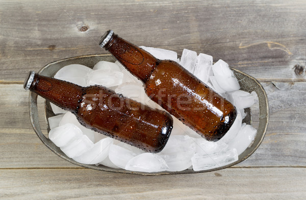 Top View of Bottled Beer on Ice  Stock photo © tab62