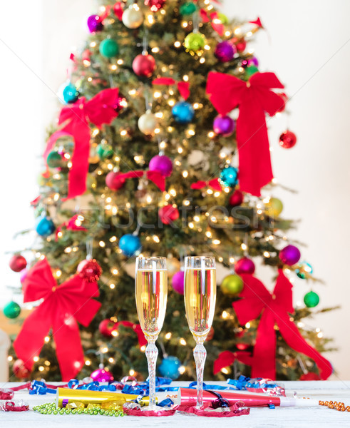 New Year party objects with Christmas tree in background  Stock photo © tab62