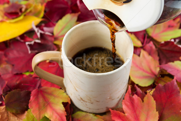 Pouring Fresh Coffee During Fall Time  Stock photo © tab62