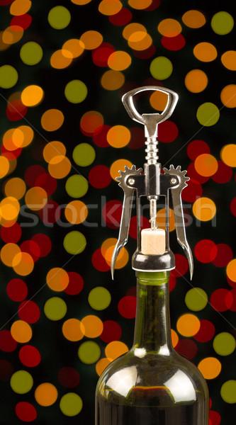 Vin fêtes vertical photo vin rouge bouteille Photo stock © tab62