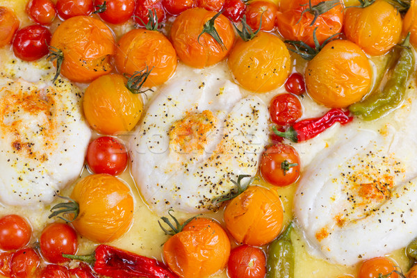 Stock photo: Baked Stuffed Sole Fish with Vegetables