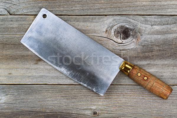 Vintage slager mes hout Stockfoto © tab62