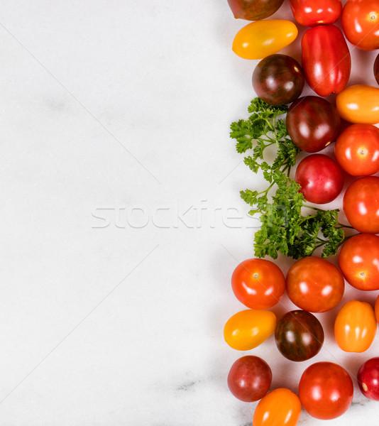 Gemengd klein tomaten witte marmer steen Stockfoto © tab62