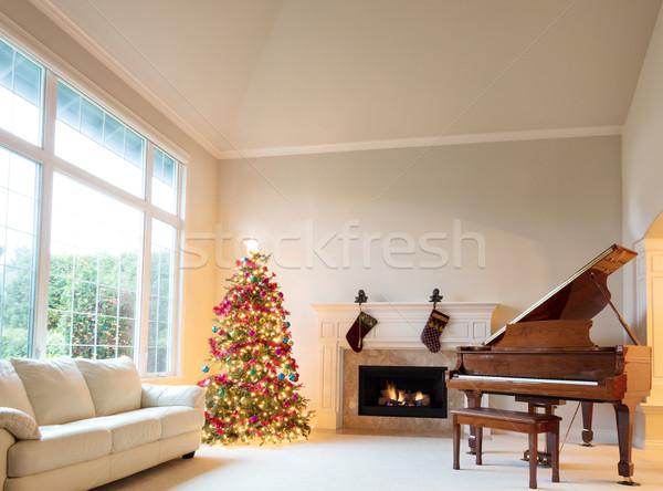 Nappali díszített karácsonyfa akasztás zokni égő Stock fotó © tab62