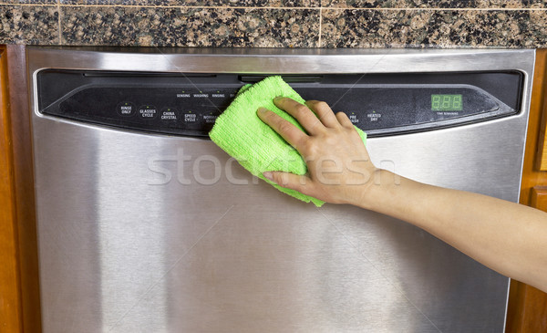 Wiping Clean Dishwasher with Microfiber rag  Stock photo © tab62