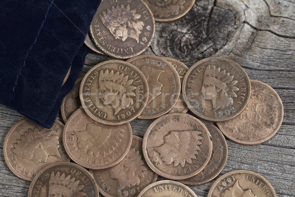 Bag of Vintage Coins on old wood  Stock photo © tab62