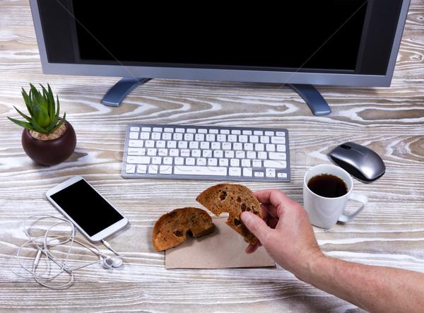 ベーグル コーヒー 職場 表示 手 ストックフォト © tab62